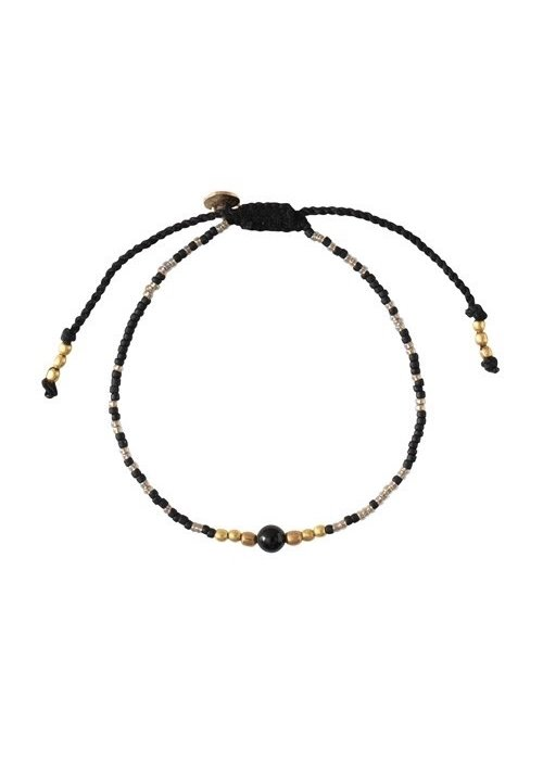 A Beautiful Story A Beautiful Story Iris Gouden Armband - Zwarte Onyx