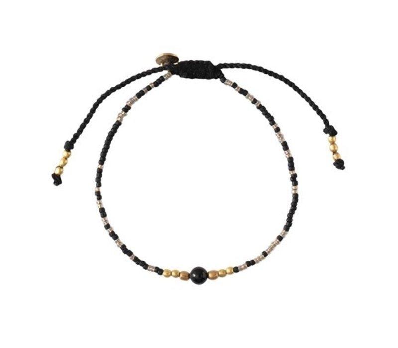 A Beautiful Story Iris Gouden Armband - Zwarte Onyx
