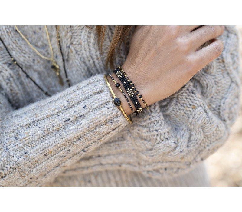 A Beautiful Story Iris Gold Bracelet - Black Onyx