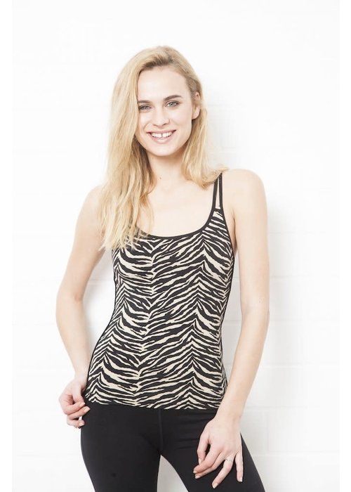 Funky Simplicity Funky Simplicity Cross Back Top - Cream Black Zebra