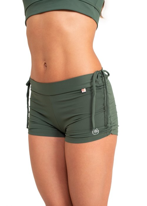 Shakti Activewear Shakti Activewear Side String Shorts - Jungle Green