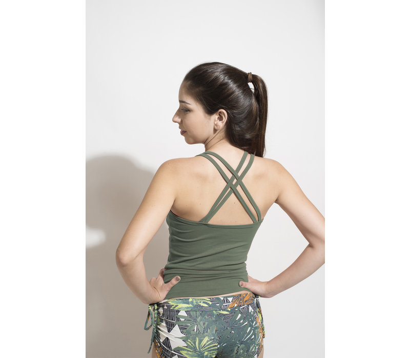 Shakti Activewear Double Cross Tank Top - Jungle Green