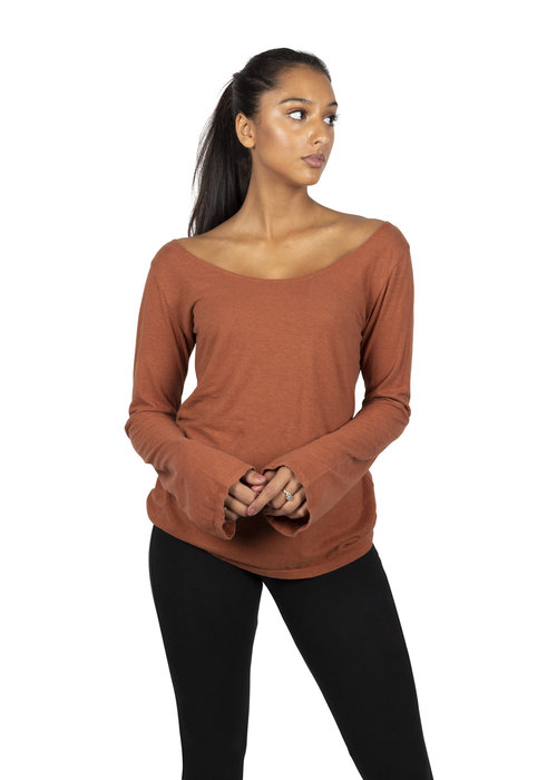 Sweetskins Sweetskins Long Sleeve Scoop T-Shirt - Carnelian