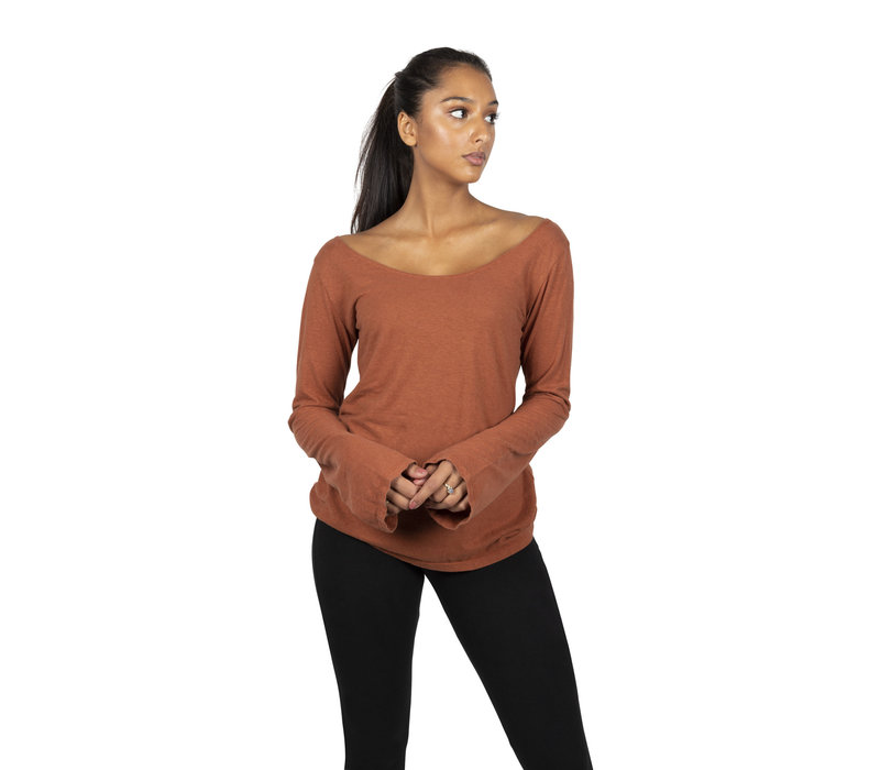 Sweetskins Long Sleeve Scoop Tee - Carnelian