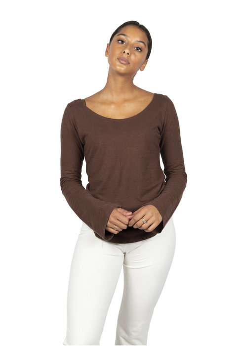Sweetskins Sweetskins Long Sleeve Scoop T-Shirt - Wood