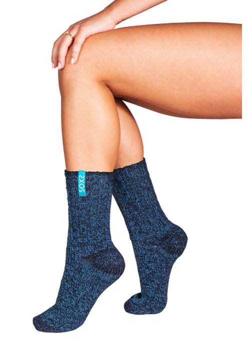 Soxs Soxs Dames Sokken - Dark Blue/St. Tropez Blue Half High