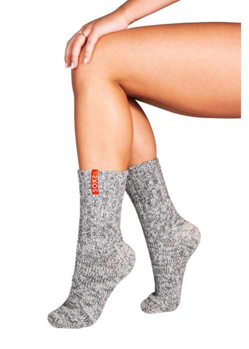 Soxs Soxs Women's Anti-Slip Socks - Grey/Orange Sunset Half High