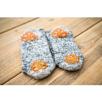 Soxs Dames Antislip Sokken - Grey/Orange Sunset Half High