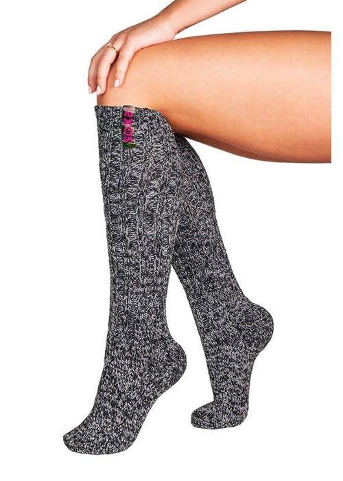 Soxs Soxs Dames Sokken - Dark Grey/Spicy Pink Knee High