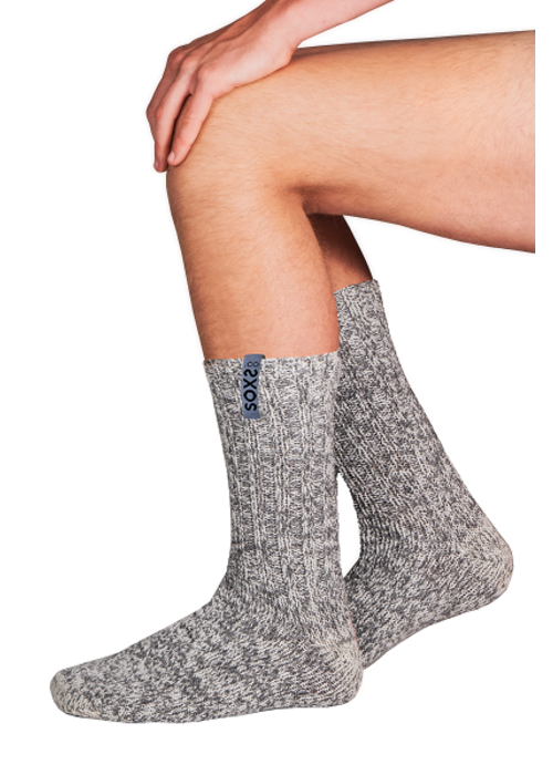 Soxs Soxs Men's Anti Slip Socks- Grey/Moon Mist Half High