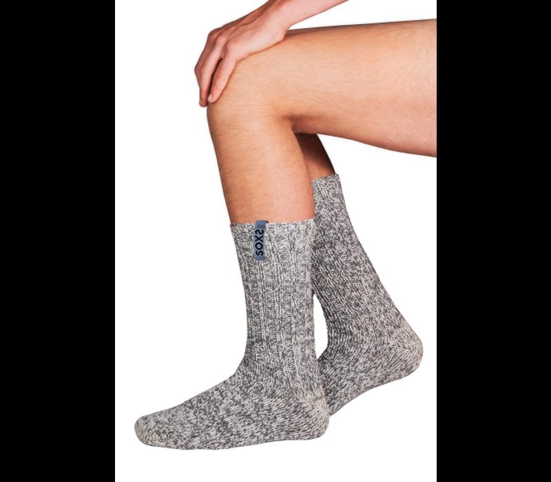 Soxs Men's Anti Slip Socks- Grey/Moon Mist Half High