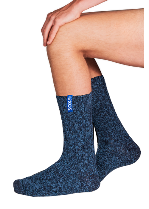 Soxs Soxs Herren Socken - Dark Blue/Miami Blue Half High