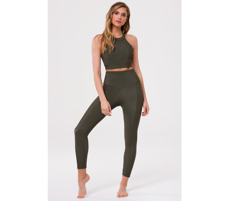 Onzie High Neck Crop - Olive Rib