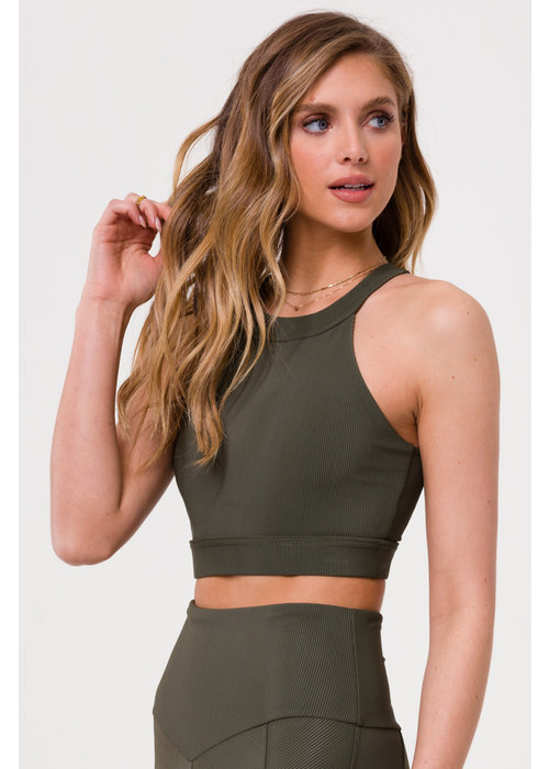 Onzie Onzie High Neck Crop - Olive Rib