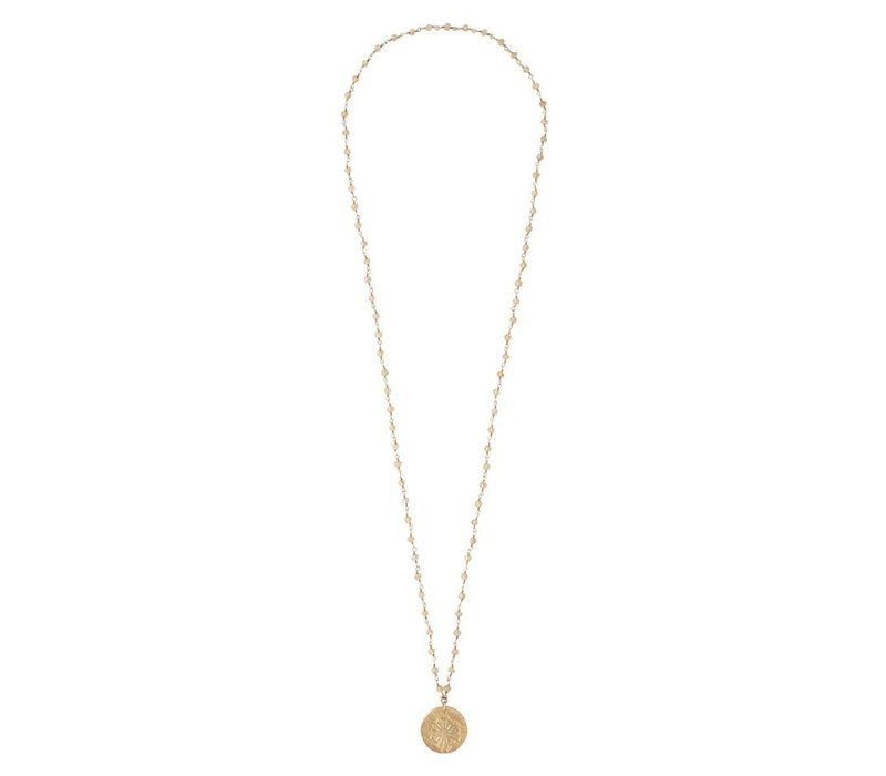 A Beautiful Story Rosary Gold Necklace Dandelion - Citrine