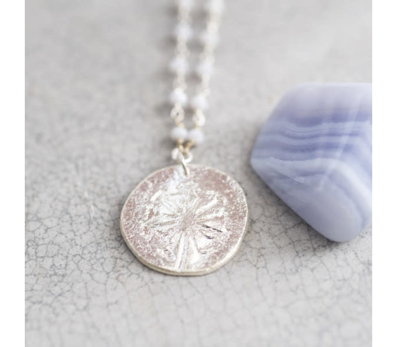 A Beautiful Story Rosary Silver Necklace Dandelion - Blue Lace Agate