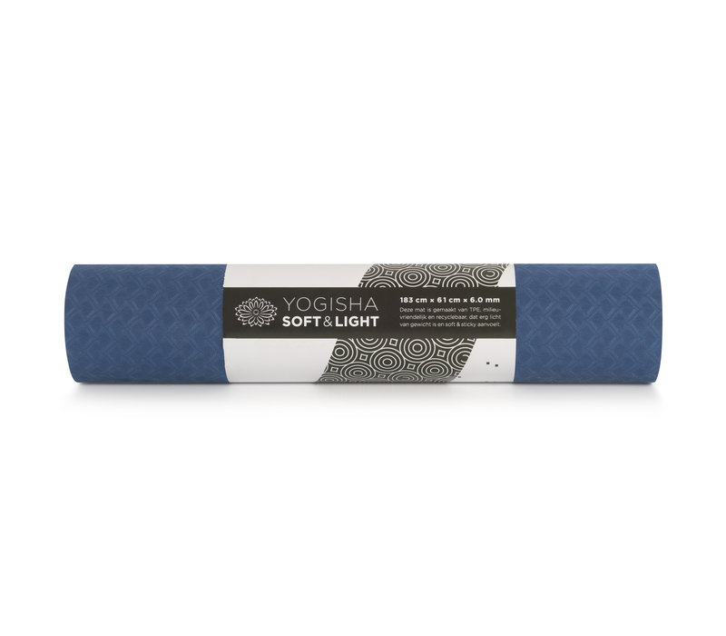 Yogisha Soft & Light Yoga Mat 183cm 60cm 6 mm - Dark blue / Light blue