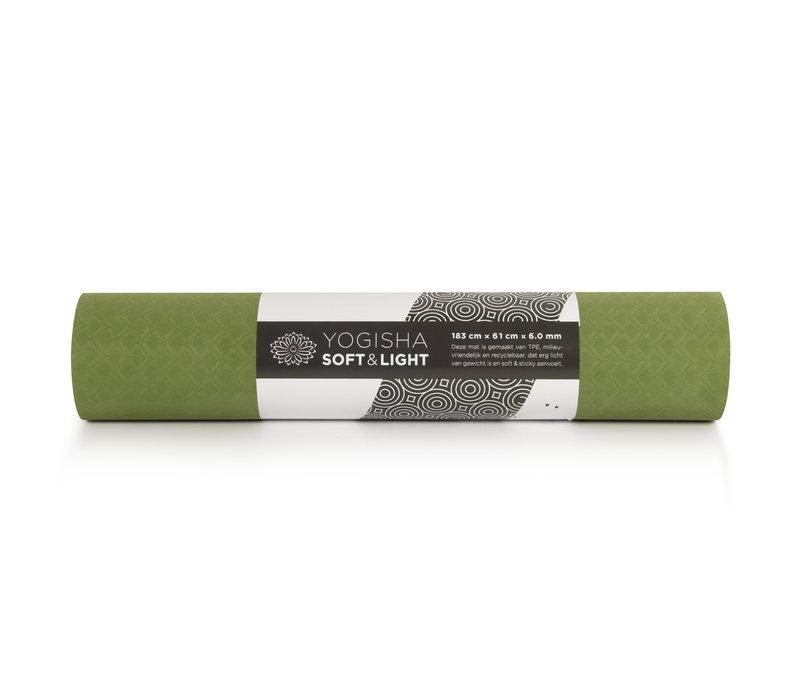 Yogisha Soft & Light Yoga Mat 183cm 60cm 6mm - Olive Green / Black