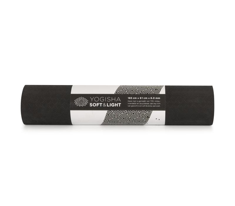 Yogisha Soft & Light Yogamatte 183cm 60cm 6mm - Schwarz