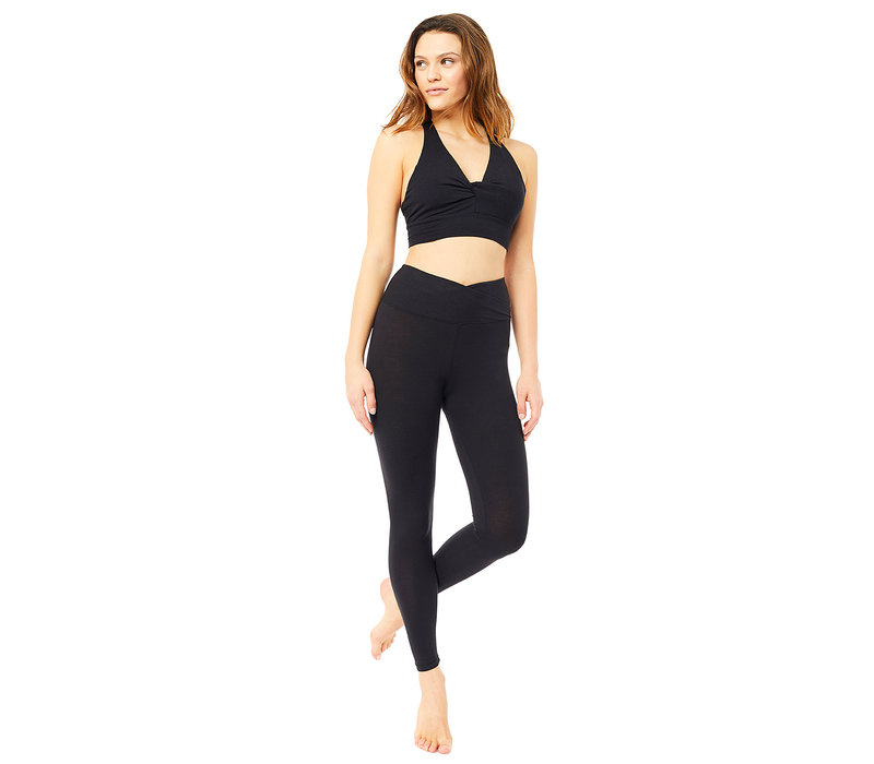 Mandala High Rise Wrap Legging - Schwarz