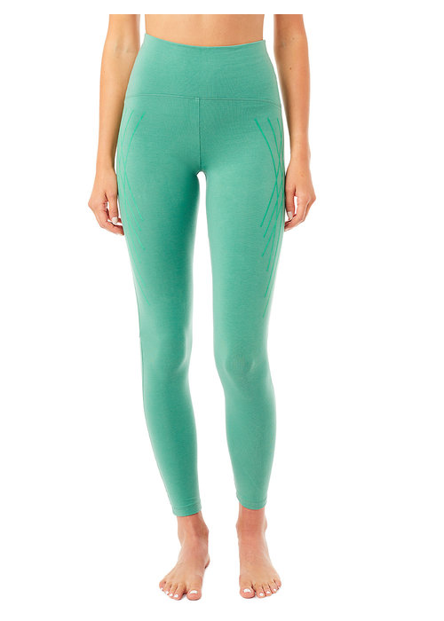 Mandala Mandala High Waist Legging with Flock Print - Jade