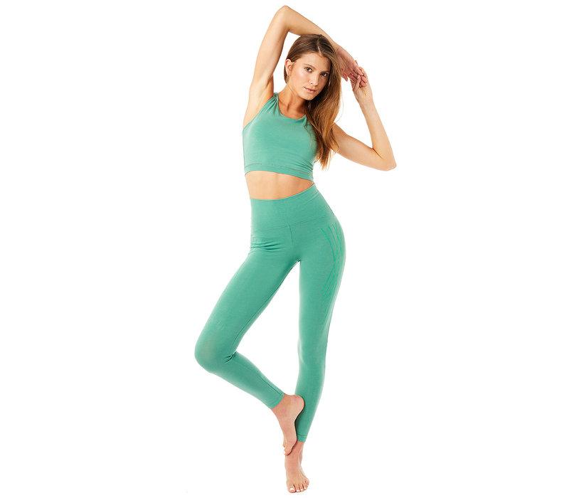 Mandala High Waist Legging with Flock Print - Jade