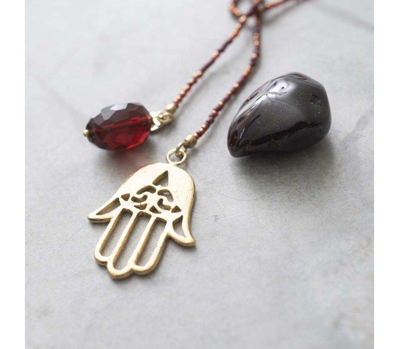 A Beautiful Story Nova Goldene Halskette - Granat