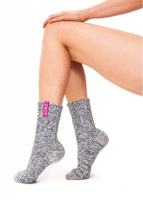 Soxs Soxs Women's Socks - Grey/Bubble Gum Half High