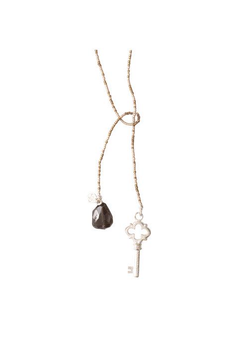 A Beautiful Story A Beautiful Story Nova Silver Necklace - Smokey Quartz