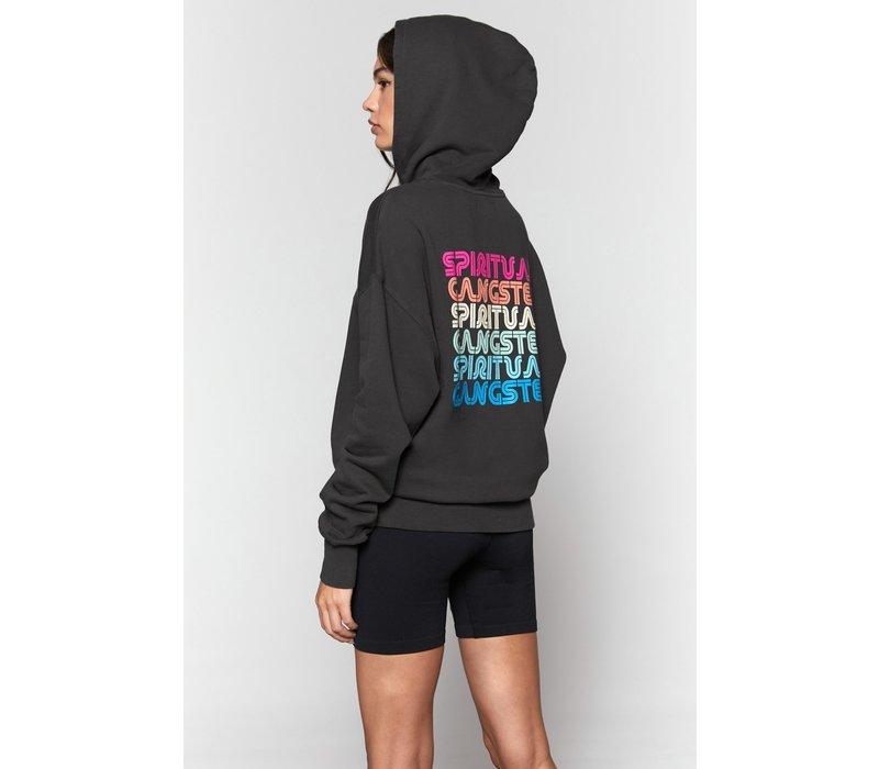 Spiritual Gangster Rainbow Phoebe Oversized Hoodie - Vintage Black