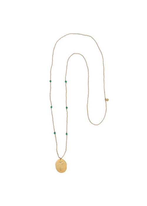 A Beautiful Story A Beautiful Story Swing Golden Necklace - Aventurine
