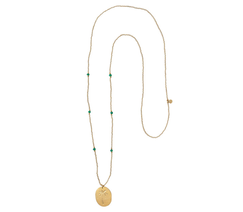 A Beautiful Story Swing Golden Necklace - Aventurine