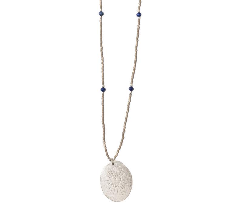 A Beautiful Story Charming Silver Necklace - Lapis Lazuli