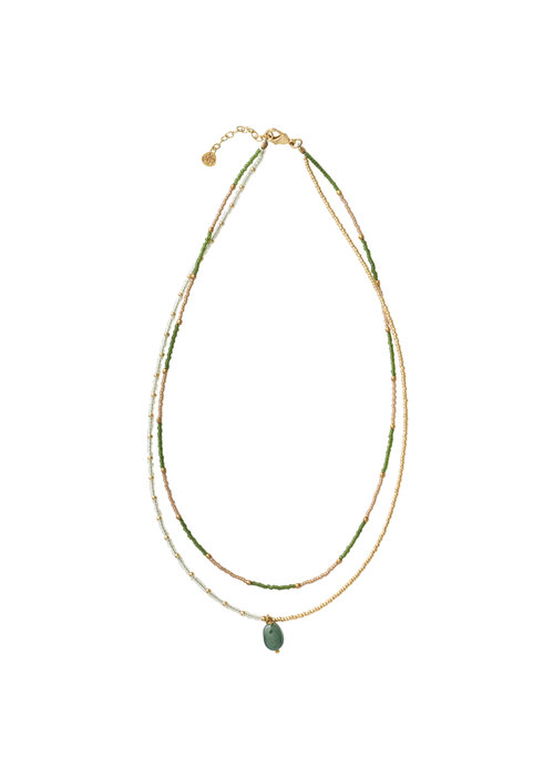A Beautiful Story A Beautiful Story Rainbow Golden Necklace - Aventurine