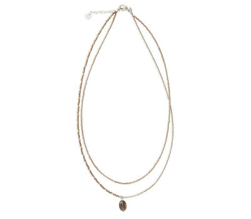 A Beautiful Story Rainbow Silver Necklace - Smokey Quartz