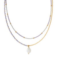 A Beautiful Story Rainbow Gouden Ketting - Moonstone
