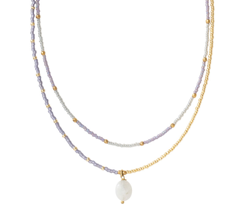 A Beautiful Story Golden Rainbow Necklace  - Moonstone