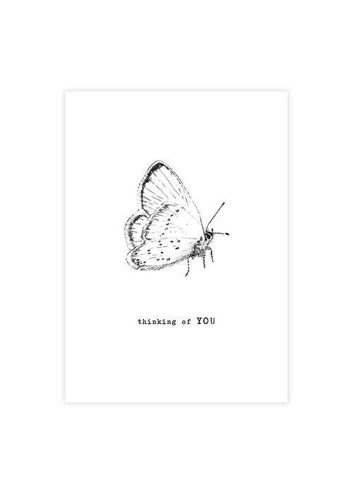 A Beautiful Story A Beautiful Story Ansichtkaart - Butterfly black/white