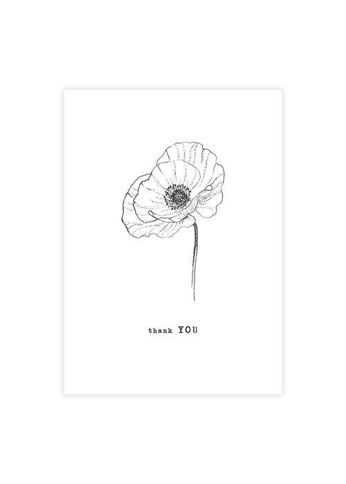 A Beautiful Story A Beautiful Story Greeting Card - Poppy black/white