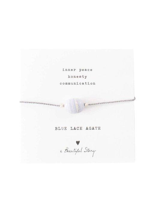 A Beautiful Story A Beautiful Story Edelstein Karte - Blaue Achat Silber- Armband