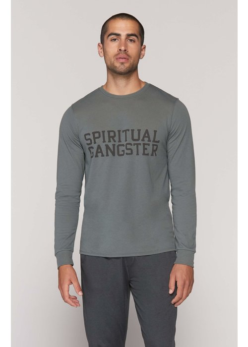 Spiritual Gangster Spiritual Gangster Varsity Long Sleeve Tee - Army Green