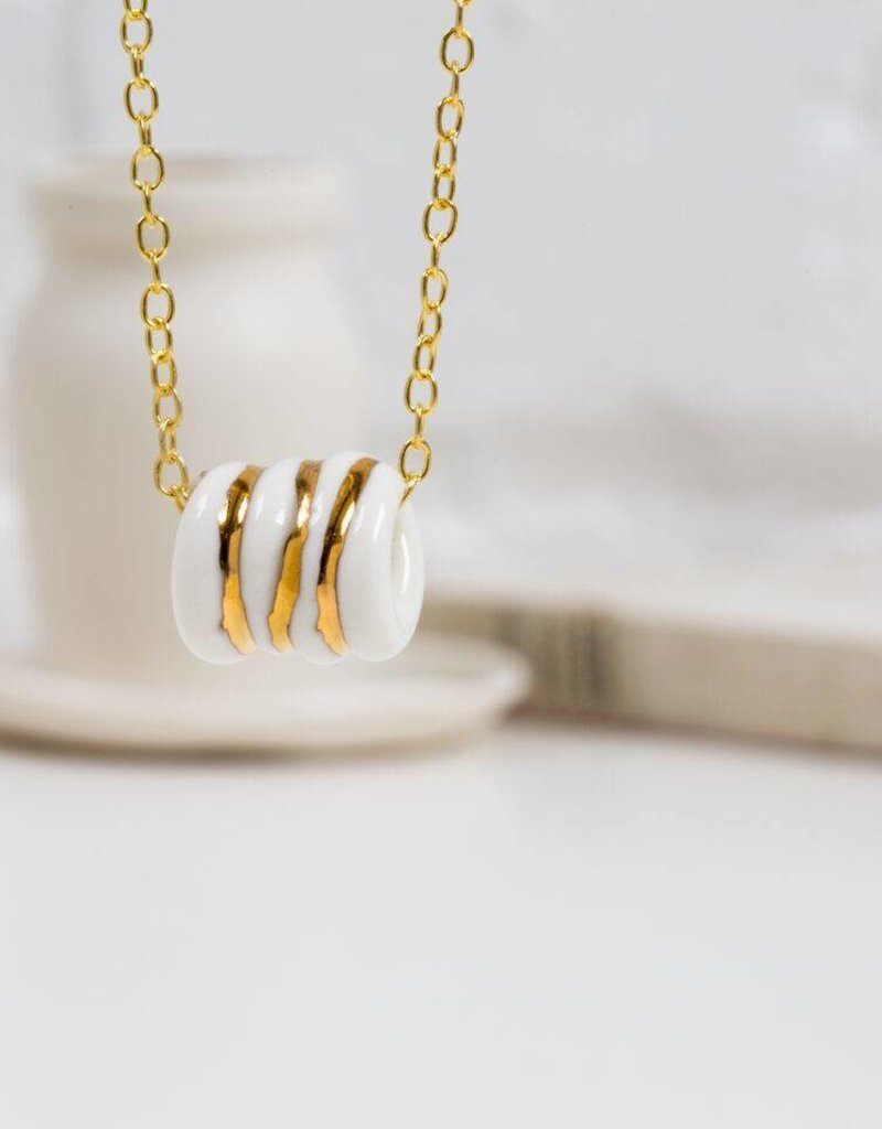 "Ketting goud/porselein ""rope"""