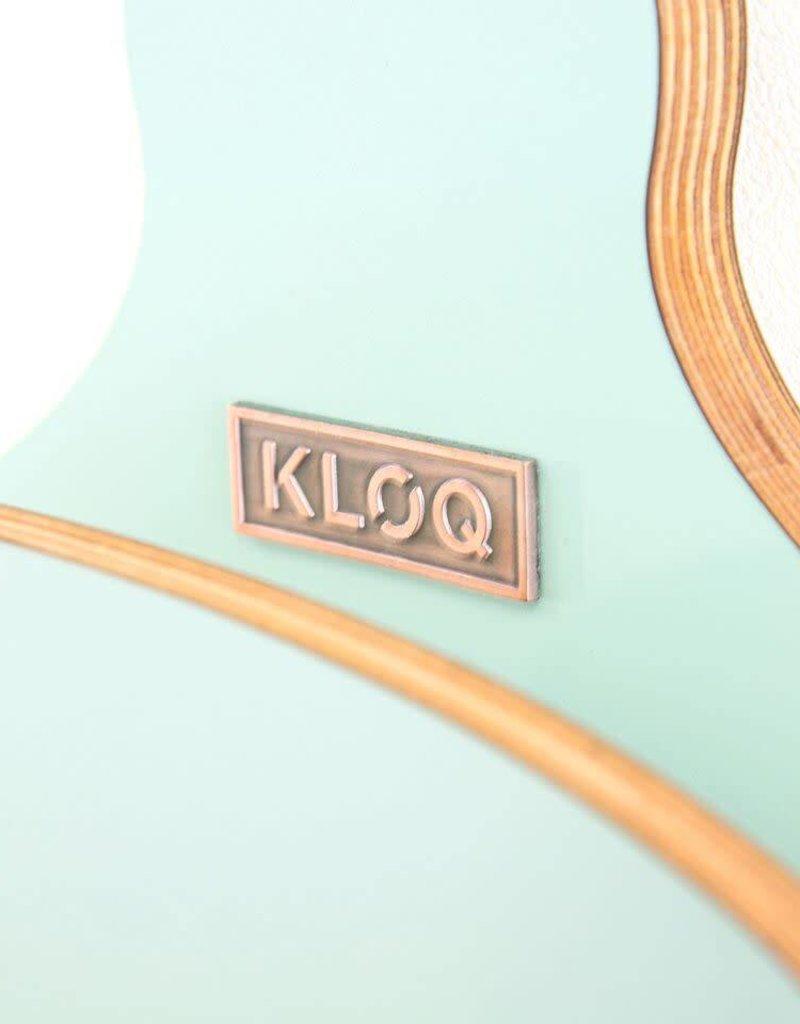 KloQ Turquoise klok met roze wijzers & slinger