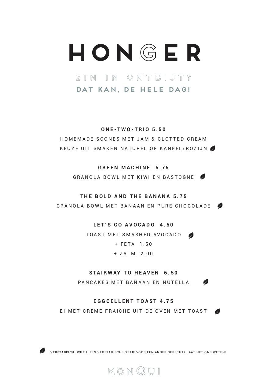Ontbijtje bij MonQui Menukaart