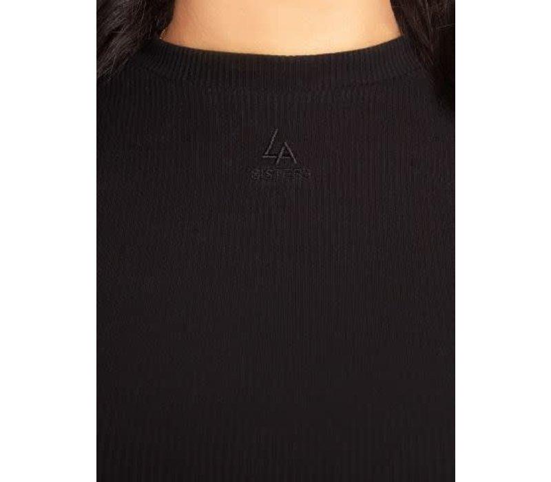 LA Sisters ribbed logo long sleeve top