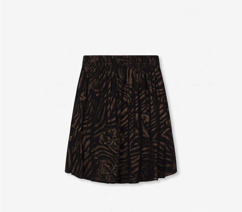 Alix Ruffle tiger chiffon skirt