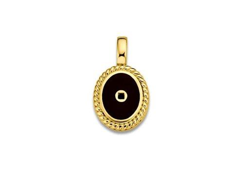 Mi-Moneda Mi Moneda Icons pendant ovaal with black enamel