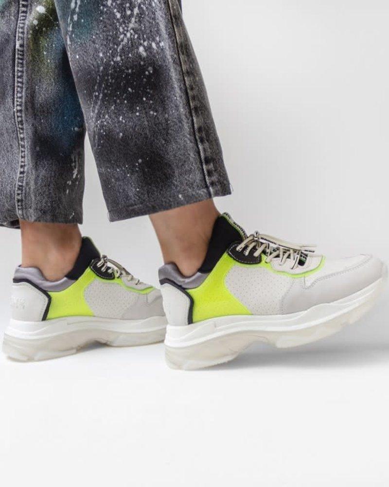Bronx Bronx sneaker off white/neon