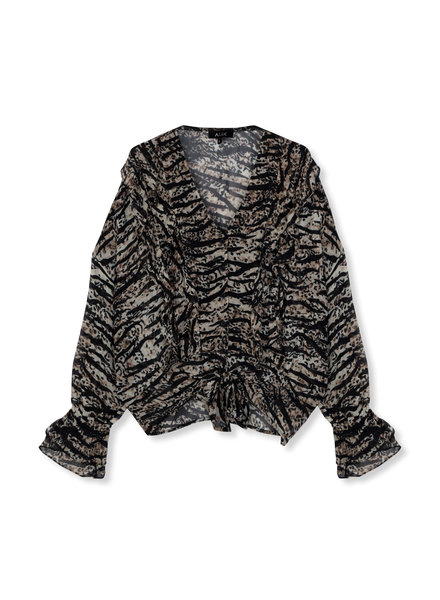 ALIX The Label Alix Oversized animal chiffon top