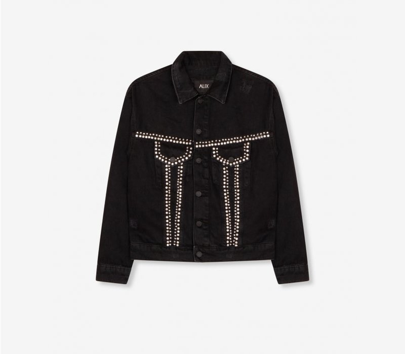 Alix woven denim jacket with studs